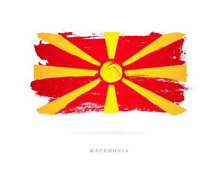 Vlag van Macedonië. Vectorillustratie op witte achtergrond. Mooie penseelstreken. Abstract concept. Elementen voor ontwerp. Stock Illustratie