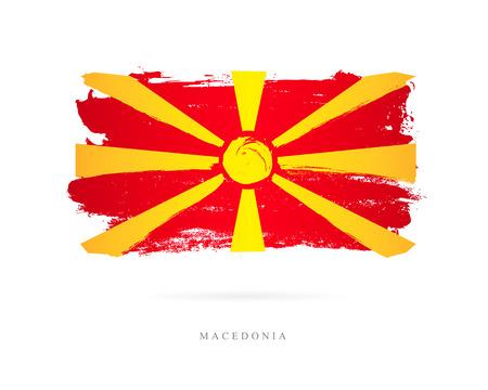 Vlag van Macedonië. Vectorillustratie op witte achtergrond. Mooie penseelstreken. Abstract concept. Elementen voor ontwerp. Stockfoto - 87525249