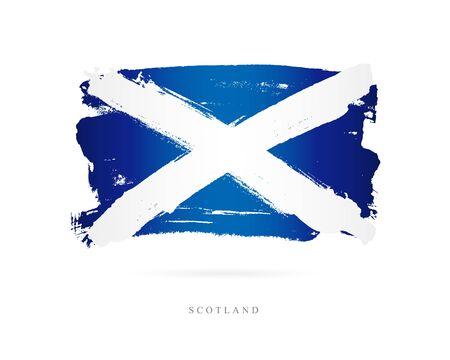 スコットランドの旗。白の背景にベクトル イラスト。美しいブラシ ストローク。抽象的な概念。デザインの要素。