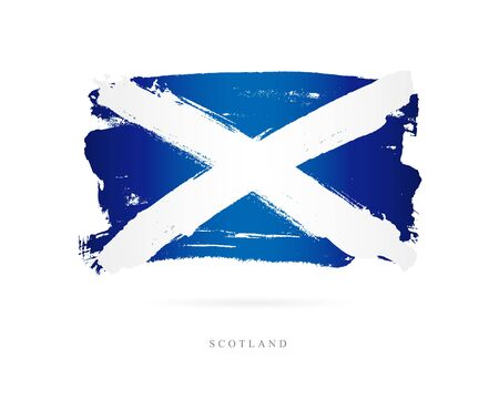 Flag of Scotland. Vector illustration on white background. Beautiful brush strokes. Abstract concept. Elements for design. Çizim
