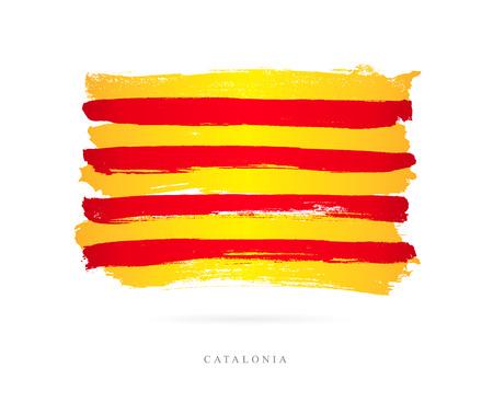 カタルーニャの旗。白の背景にベクトル イラスト。美しいブラシ ストローク。抽象的な概念。デザインの要素。
