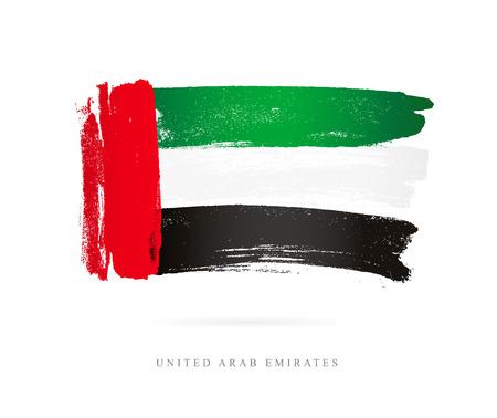 アラブ首長国連邦の旗。白の背景にベクトル イラスト。美しいブラシ ストローク。抽象的な概念。デザインの要素。