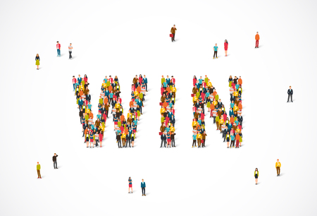 Groep mensen staan ??in het woord Win. Vectorillustratie op witte achtergrond. Het concept van de winnaars. Stockfoto - 88417024