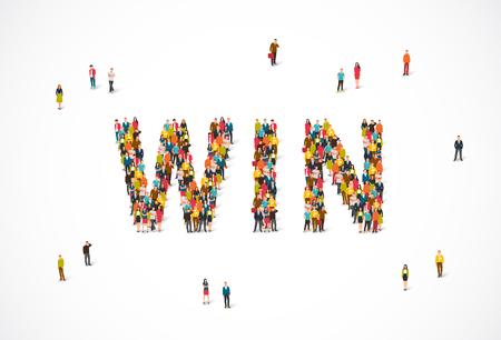 Gruppe von Personen, die im Wort Gewinn stehen. Vektorabbildung auf weißem Hintergrund. Das Konzept der Gewinner.