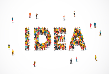 Group of people standing in the word Idea. Vector illustration on white background. Concept of thought.