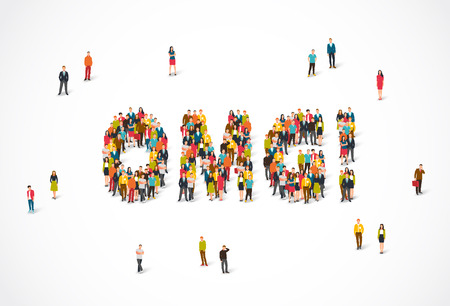 Groep mensen die zich in het woord OMG bevinden. Vectorillustratie op witte achtergrond. Het concept van verrassing.