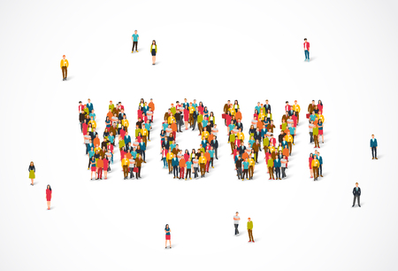 Group of people standing in the word Wow. Vector illustration on white background. The concept of surprise. Illustration