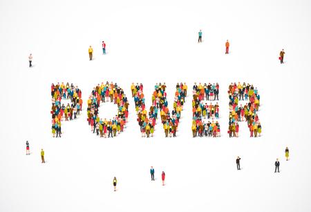 Groep mensen die zich in de woordmacht bevinden. Vectorillustratie op witte achtergrond. Concept van energie. Stock Illustratie