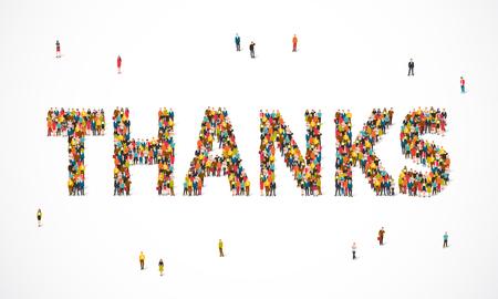 Gruppe von Personen, die in einem Wort steht Danke. Vektor-Illustration auf weißem Hintergrund. Ein Konzept der Dankbarkeit.
