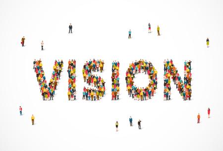 Grupo de personas de pie en la palabra visión. Ilustración vectorial sobre fondo blanco. Punto de opinión del concepto. Ilustración de vector