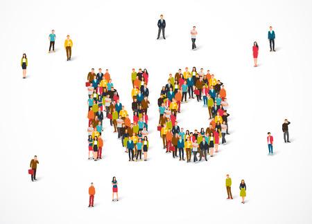 Groep die mensen zich in een woord Nr bevinden Vectorillustratie op witte achtergrond. Het concept van ontkenning. Stock Illustratie