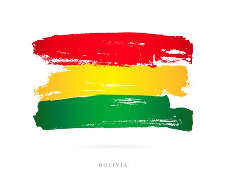 Vlag van Bolivia in penseelstreken Stock Illustratie