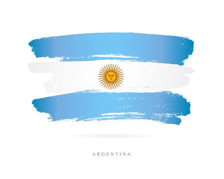 Flag of Argentina. Vector illustration on white background. Beautiful brush strokes. Abstract concept. Elements for design.