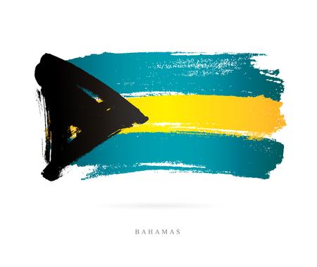 바하마의 국기. 흰색 배경에 벡터 일러스트 레이 션. 아름다운 브러쉬 스트로크. 추상적 인 개념입니다. 디자인 요소입니다.