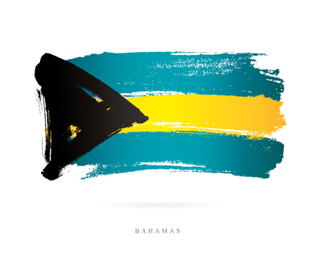 Flag of the Bahamas. Vector illustration on white background. Beautiful brush strokes. Abstract concept. Elements for design. Çizim