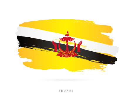 Flag of Brunei. Vector illustration on white background. Beautiful brush strokes. Abstract concept. Elements for design.