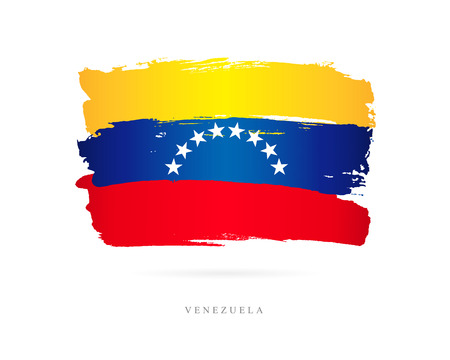 Flag of Venezuela. Vector illustration on white background. Beautiful brush strokes. Abstract concept. Elements for design.