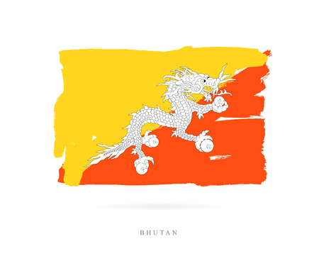 Flag of Bhutan. Vector illustration on white background. Beautiful brush strokes. Abstract concept. Elements for design.