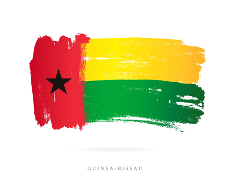Flag of Guinea-Bissau. Vector illustration on white background. Beautiful brush strokes. Abstract concept. Elements for design. Illustration