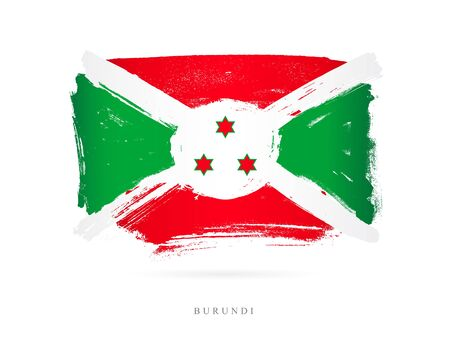 Flag of Burundi. Vector illustration on white background. Beautiful brush strokes. Abstract concept. Elements for design.