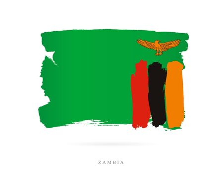 Flag of Zambia. Vector illustration on white background. Beautiful brush strokes. Abstract concept. Elements for design. Illustration
