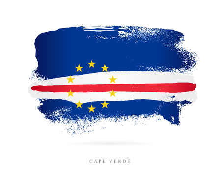 Flag of Cape Verde. Vector illustration on white background. Beautiful brush strokes. Abstract concept. Elements for design.