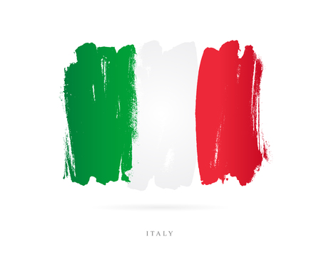 Flag of Italy. Vector illustration on white background. Beautiful brush strokes. Abstract concept. Elements for design.  イラスト・ベクター素材