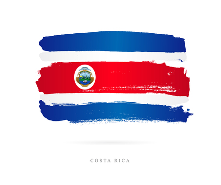 Flag of Costa Rica. Vector illustration on white background. Beautiful brush strokes. Abstract concept. Elements for design.