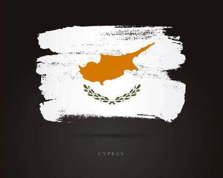 Flag of Cyprus. Vector illustration on a black background. Beautiful brush strokes. Abstract concept. Elements for design.