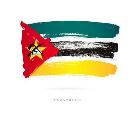 Flag of Mozambique. Vector illustration on white background. Beautiful brush strokes. Abstract concept. Elements for design.