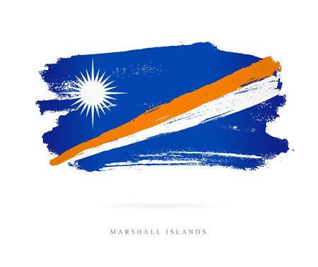 Flag of the Marshall Islands. Vector illustration on white background. Beautiful brush strokes. Abstract concept. Elements for design.