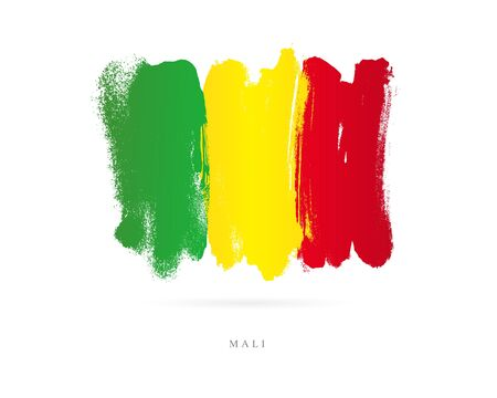 Flag of Mali. Vector illustration on white background. Beautiful brush strokes. Abstract concept. Elements for design. Illustration