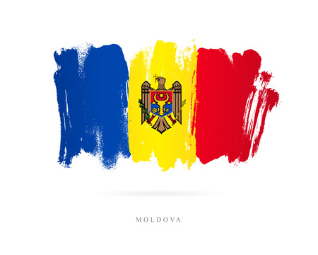 Flag of Moldova. Vector illustration on white background. Beautiful brush strokes. Abstract concept. Elements for design.  イラスト・ベクター素材