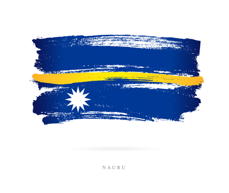 Flag of Nauru. Vector illustration on white background. Beautiful brush strokes. Abstract concept. Elements for design. Illustration