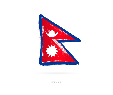 Flag of Nepal. Vector illustration on white background. Beautiful brush strokes. Abstract concept. Elements for design.