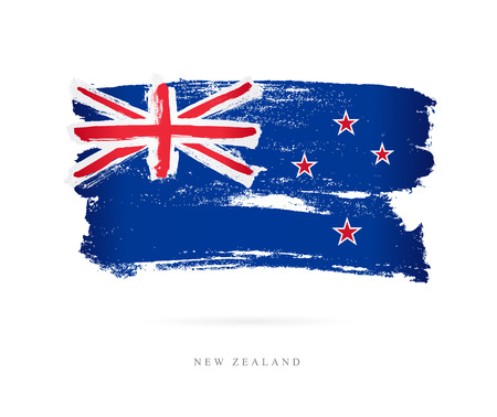 Flag of New Zealand. Vector illustration on white background. Beautiful brush strokes. Abstract concept. Elements for design.