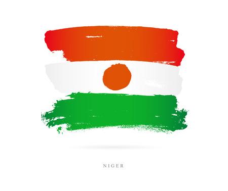 Flag of the Niger. Vector illustration on white background. Beautiful brush strokes. Abstract concept. Elements for design.