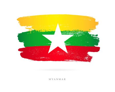 Flag of Myanmar. Vector illustration on white background. Beautiful brush strokes. Abstract concept. Elements for design.