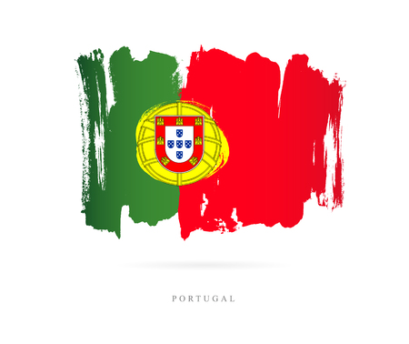 Flag of Portugal. Vector illustration on white background. Beautiful brush strokes. Abstract concept. Elements for design. Иллюстрация