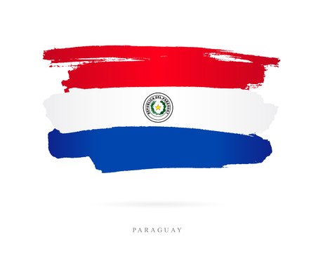The flag of Paraguay. Vector illustration on white background. Beautiful brush strokes. Abstract concept. Elements for design.