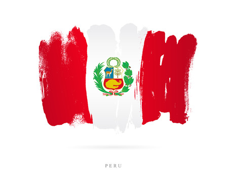 Flag of Peru. Vector illustration on white background. Beautiful brush strokes. Abstract concept. Elements for design.