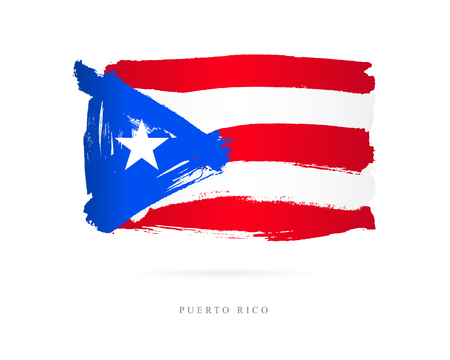 Flag of Puerto Rico. Vector illustration on white background. Beautiful brush strokes. Abstract concept. Elements for design.  イラスト・ベクター素材