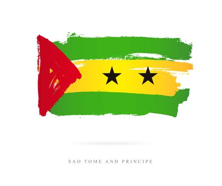 Flag of Sao Tome and Principe. Vector illustration on white background. Beautiful brush strokes. Abstract concept. Elements for design.
