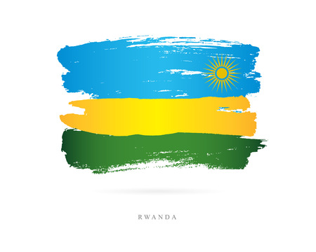 Flag of Rwanda. Vector illustration on white background. Beautiful brush strokes. Abstract concept. Elements for design.