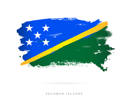 Flag of the Solomon Islands. Vector illustration on white background. Beautiful brush strokes. Abstract concept. Elements for design.