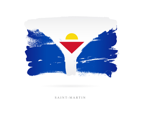 Flag of St. Martin. Vector illustration on white background. Beautiful brush strokes. Abstract concept. Elements for design.