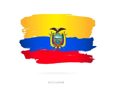 Flag of Ecuador vector illustration on white background.