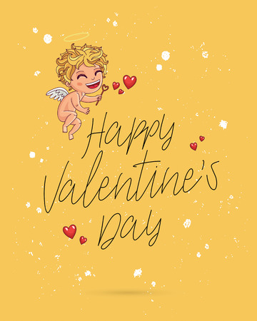 Happy Valentines day. Vector illustration on a yellow background. Cute handsome angel with wings. Lettering and calligraphy. Excellent festive gift card. Illustration