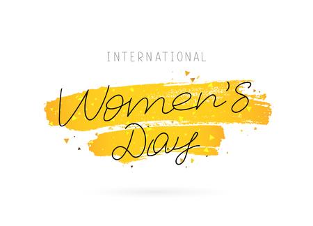 Internationale Vrouwendag. 8 maart. Vectorillustratie op een witte achtergrond met een uitstrijkje van inkt gouden kleur. Belettering en kalligrafie. Een geweldige feestelijke wenskaart. Stock Illustratie