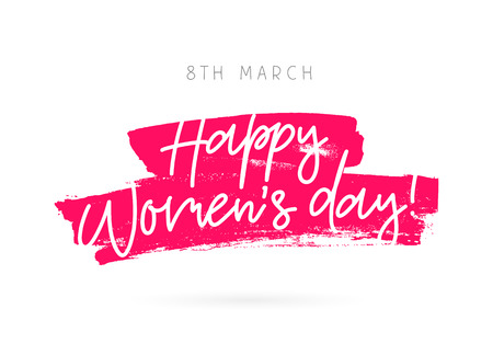 March 8. Happy woman's day. Vector illustration on a white background with a stroke of ink pink color. Lettering and calligraphy. A great festive greeting card.
